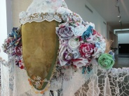 Roses constructed from handkerchiefs. Detail from Laura Larson's Amy Semple Mcpherson bus.